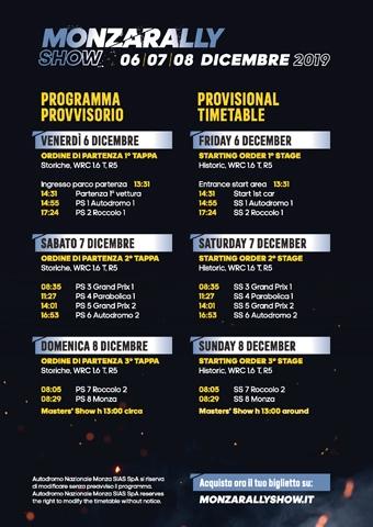 Il Monza Rally Show 2019 composto da otto Prove Speciali e dal Masters' Show
