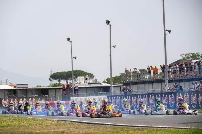 Le qualificazioni e le manches di venerdì della WSK Euro Series nel caldo torrido di Sarno